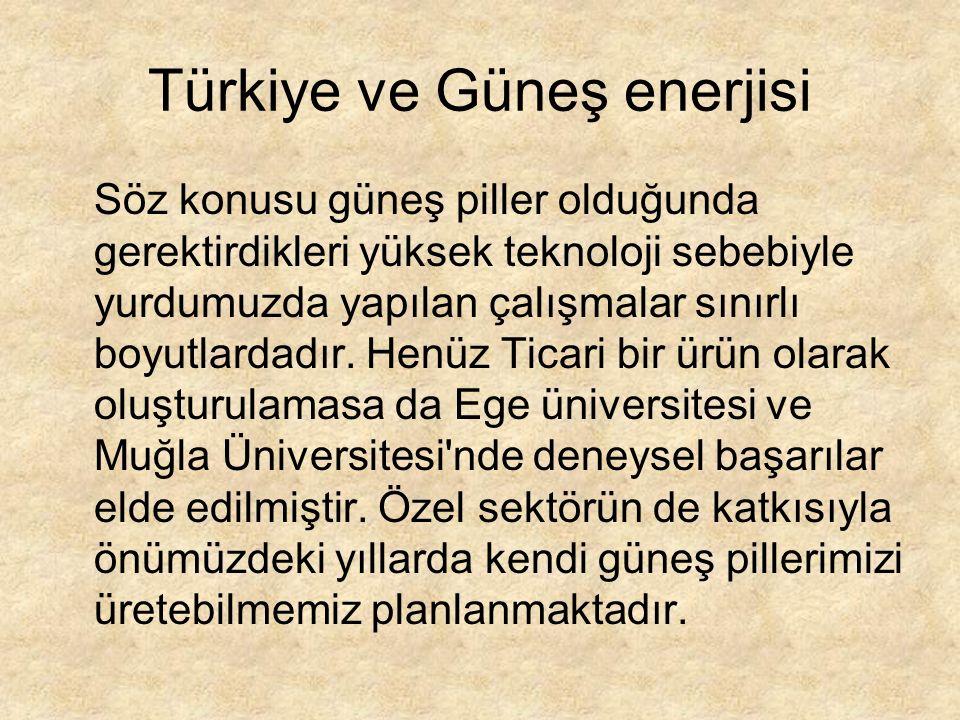 Türkiye ve Güneş enerjisi Söz konusu güneş piller olduğunda gerektirdikleri yüksek teknoloji sebebiyle yurdumuzda yapılan çalışmalar sınırlı boyutlardadır.