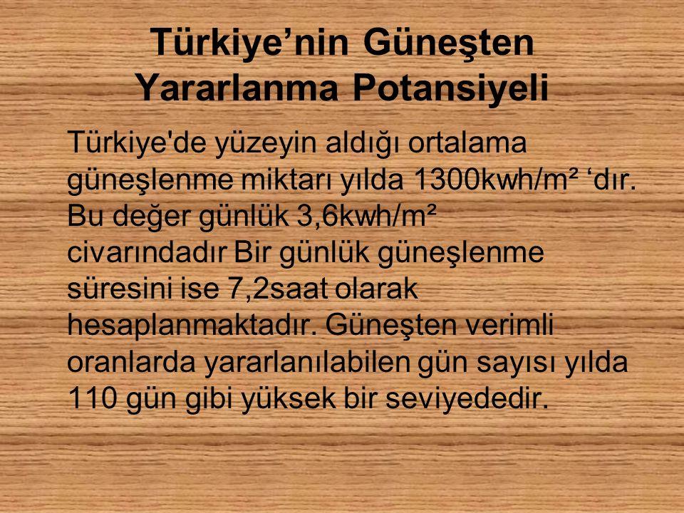 Türkiye'nin Güneşten Yararlanma Potansiyeli Türkiye de yüzeyin aldığı ortalama güneşlenme miktarı yılda 1300kwh/m² 'dır.