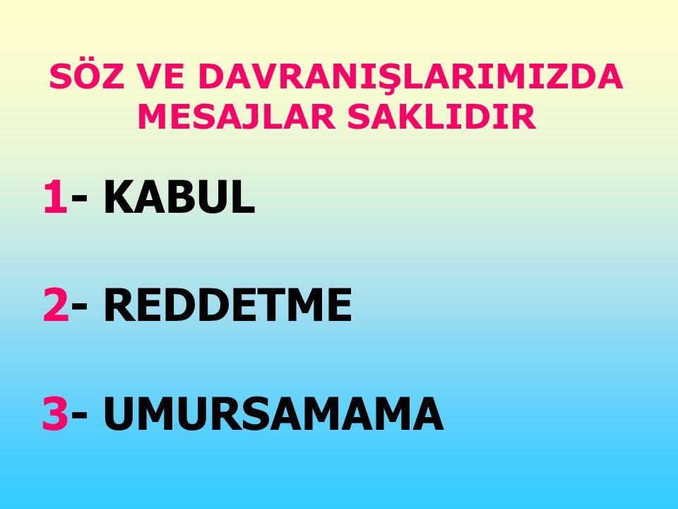SÖZ VE DAVRANIŞLARIMIZDA MESAJLAR SAKLIDIR 1- KABUL 2- REDDETME 3- UMURSAMAMA