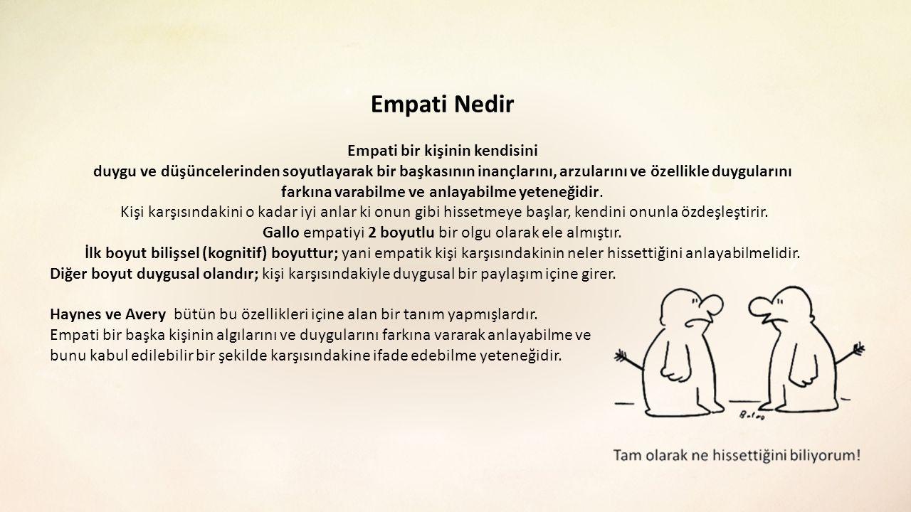 Empati Nedir Empati bir kişinin kendisini duygu ve düşüncelerinden soyutlayarak bir başkasının inançlarını, arzularını ve özellikle duygularını farkın