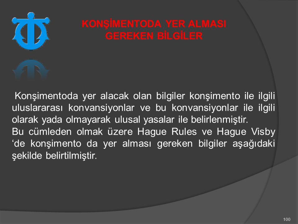 100 Konşimentoda yer alacak olan bilgiler konşimento ile ilgili uluslararası konvansiyonlar ve bu konvansiyonlar ile ilgili olarak yada olmayarak ulusal yasalar ile belirlenmiştir.