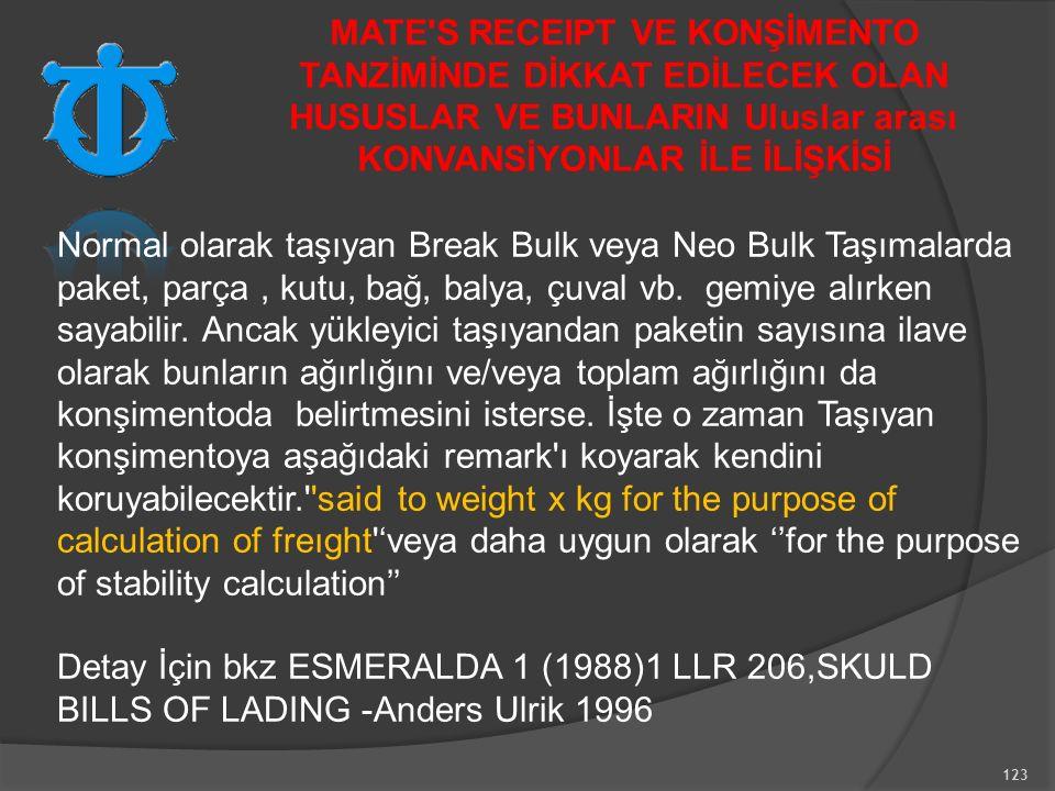 123 Normal olarak taşıyan Break Bulk veya Neo Bulk Taşımalarda paket, parça, kutu, bağ, balya, çuval vb.