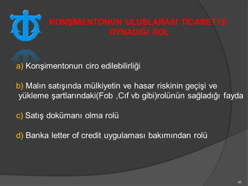 45 a) Konşimentonun ciro edilebilirliği b) Malın satışında mülkiyetin ve hasar riskinin geçişi ve yükleme şartlarındaki(Fob,Cıf vb gibi)rolünün sağladığı fayda c) Satış dokümanı olma rolü d) Banka letter of credit uygulaması bakımından rolü KONŞİMENTONUN ULUSLARASI TİCARETTE OYNADIĞI ROL