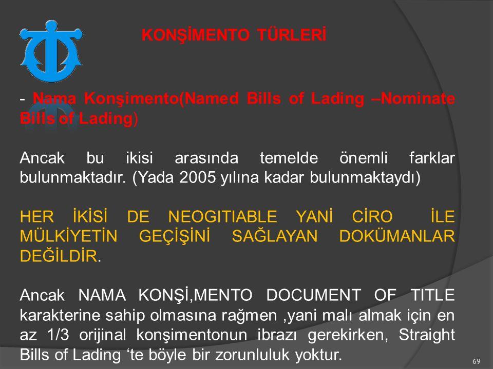69 - Nama Konşimento(Named Bills of Lading –Nominate Bills of Lading) Ancak bu ikisi arasında temelde önemli farklar bulunmaktadır.