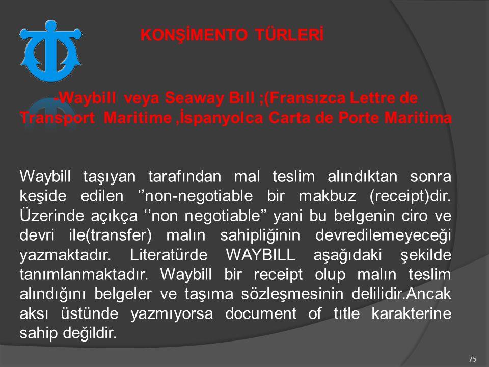 75 -Waybill veya Seaway Bıll ;(Fransızca Lettre de Transport Maritime,İspanyolca Carta de Porte Maritima Waybill taşıyan tarafından mal teslim alındıktan sonra keşide edilen ''non-negotiable bir makbuz (receipt)dir.