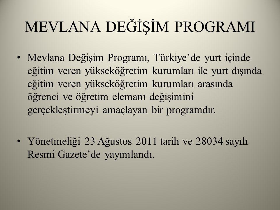 Mevlana Değişim Programı, Türkiye'de yurt içinde eğitim veren yükseköğretim kurumları ile yurt dışında eğitim veren yükseköğretim kurumları arasında öğrenci ve öğretim elemanı değişimini gerçekleştirmeyi amaçlayan bir programdır.