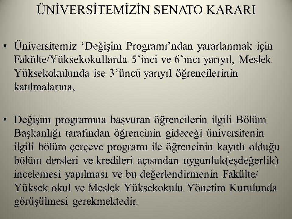 ÜNİVERSİTEMİZİN SENATO KARARI Üniversitemiz 'Değişim Programı'ndan yararlanmak için Fakülte/Yüksekokullarda 5'inci ve 6'ıncı yarıyıl, Meslek Yüksekokulunda ise 3'üncü yarıyıl öğrencilerinin katılmalarına, Değişim programına başvuran öğrencilerin ilgili Bölüm Başkanlığı tarafından öğrencinin gideceği üniversitenin ilgili bölüm çerçeve programı ile öğrencinin kayıtlı olduğu bölüm dersleri ve kredileri açısından uygunluk(eşdeğerlik) incelemesi yapılması ve bu değerlendirmenin Fakülte/ Yüksek okul ve Meslek Yüksekokulu Yönetim Kurulunda görüşülmesi gerekmektedir.