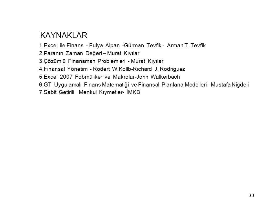 KAYNAKLAR 1.Excel ile Finans - Fulya Alpan -Gürman Tevfik - Arman T. Tevfik 2.Paranın Zaman Değeri – Murat Kıyılar 3.Çözümlü Finansman Problemleri - M