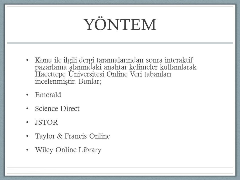 YÖNTEM Konu ile ilgili dergi taramalarından sonra interaktif pazarlama alanındaki anahtar kelimeler kullanılarak Hacettepe Üniversitesi Online Veri ta