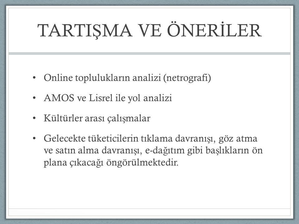 TARTI Ş MA VE ÖNER İ LER Online toplulukların analizi (netrografi) AMOS ve Lisrel ile yol analizi Kültürler arası çalı ş malar Gelecekte tüketicilerin