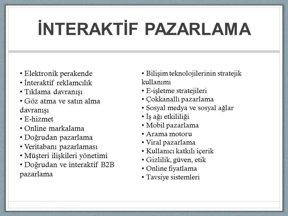 L İ TERATÜR Internet Marketing Research : A Literature review and classification: 1987-2000 Ngai, 2003 Virtual Community Studies: A Literature Review, Synthesis and Research Agenda Li, 2004 The State of Internet Marketing Research: A Review of the Literature and Future Research Directions Schibrowsky, Peltier, Nill, 2007 The Impact of Electronic Word of Mouth Communication: A Literature Analysis and Integrative Model Cheung, Thadani, 2012 Social Media Research in Advertising, Communication, Marketing and Public Relations 1997-2010 Khang, Ki, Ye, 2012