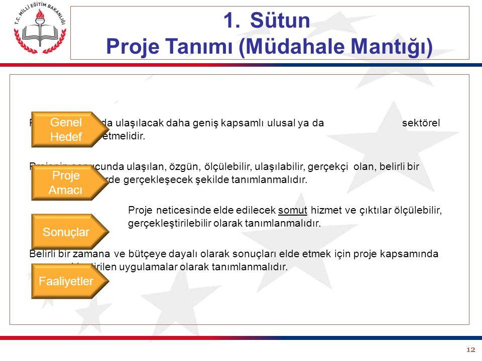 12 1.Sütun Proje Tanımı (Müdahale Mantığı) Projenin sonunda ulaşılacak daha geniş kapsamlı ulusal ya da sektörel amacı ifade etmelidir. Projenin sonuc