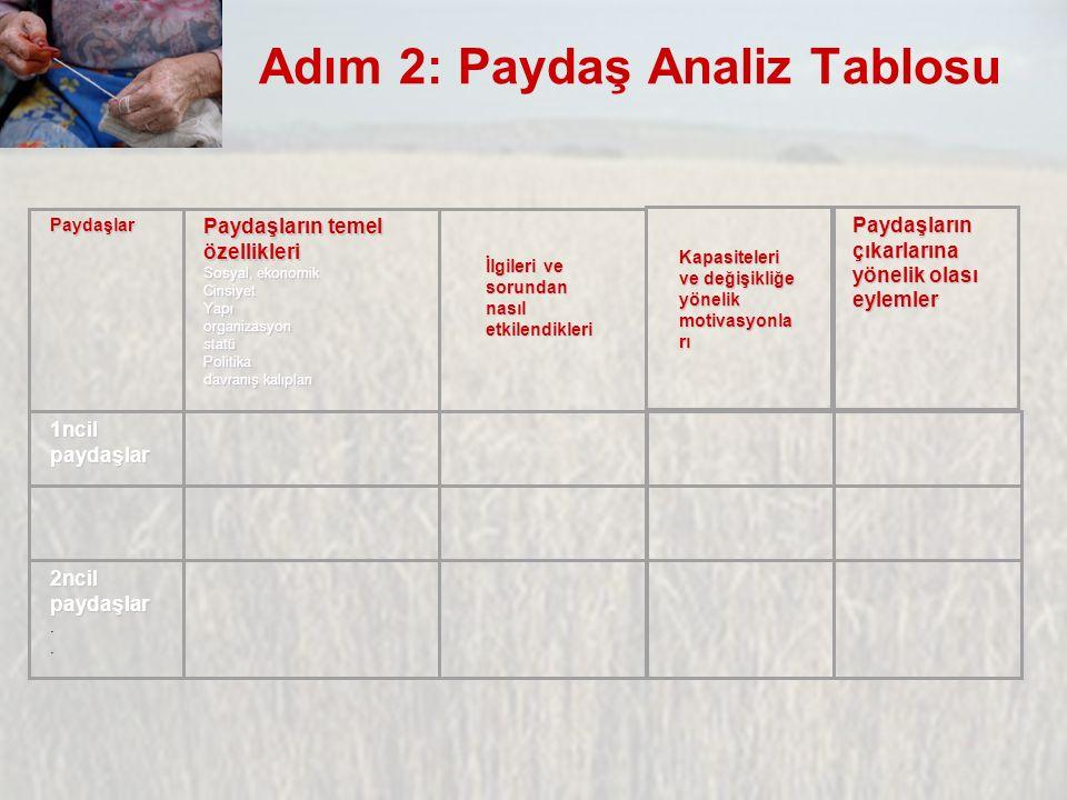 Adım 2: Paydaş Analiz Tablosu Paydaşlar Paydaşların temel özellikleri Sosyal, ekonomik CinsiyetYapıorganizasyonstatüPolitika davranış kalıpları 1ncil