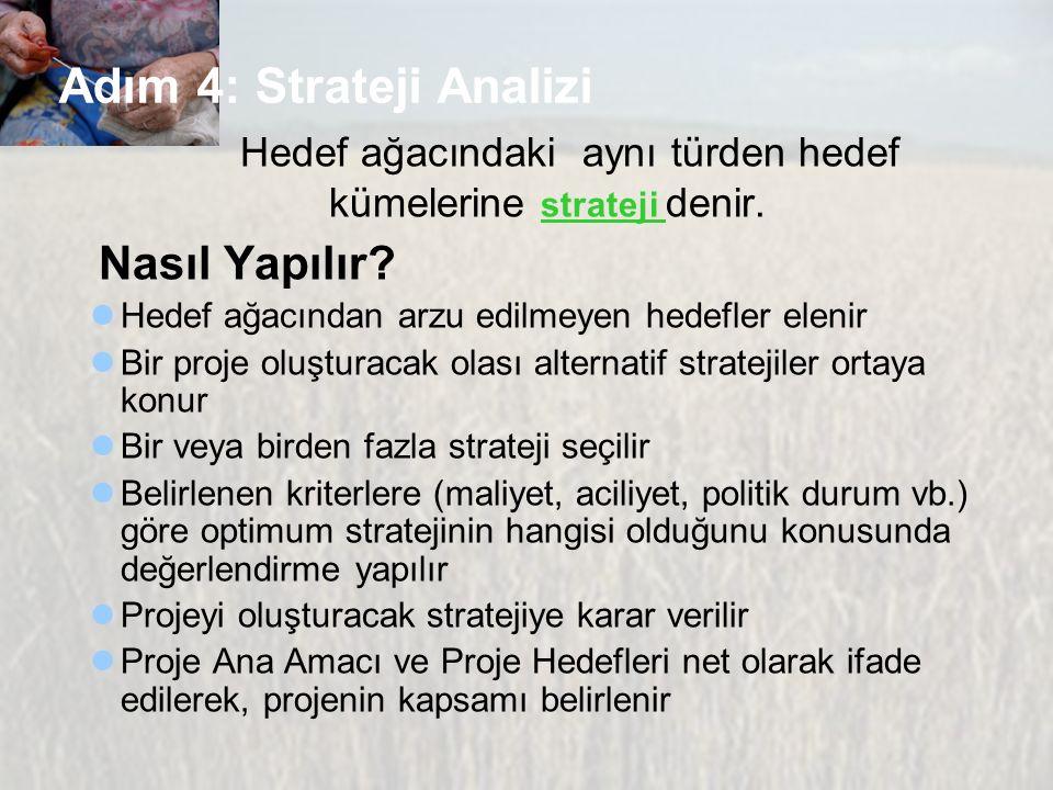 Adım 4: Strateji Analizi Hedef ağacındaki aynı türden hedef kümelerine strateji denir. Nasıl Yapılır? Hedef ağacından arzu edilmeyen hedefler elenir B