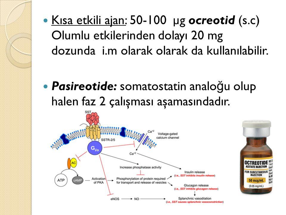 Kısa etkili ajan: 50-100 µg ocreotid (s.c) Olumlu etkilerinden dolayı 20 mg dozunda i.m olarak olarak da kullanılabilir. Pasireotide: somatostatin ana