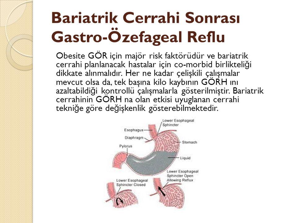 Bariatrik Cerrahi Sonrası Gastro-Özefageal Reflu Obesite GÖR için majör risk faktörüdür ve bariatrik cerrahi planlanacak hastalar için co-morbid birli