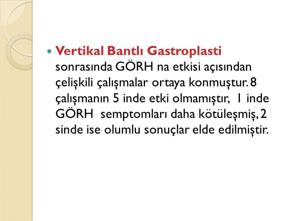 Vertikal Bantlı Gastroplasti sonrasında GÖRH na etkisi açısından çelişkili çalışmalar ortaya konmuştur. 8 çalışmanın 5 inde etki olmamıştır, 1 inde GÖ