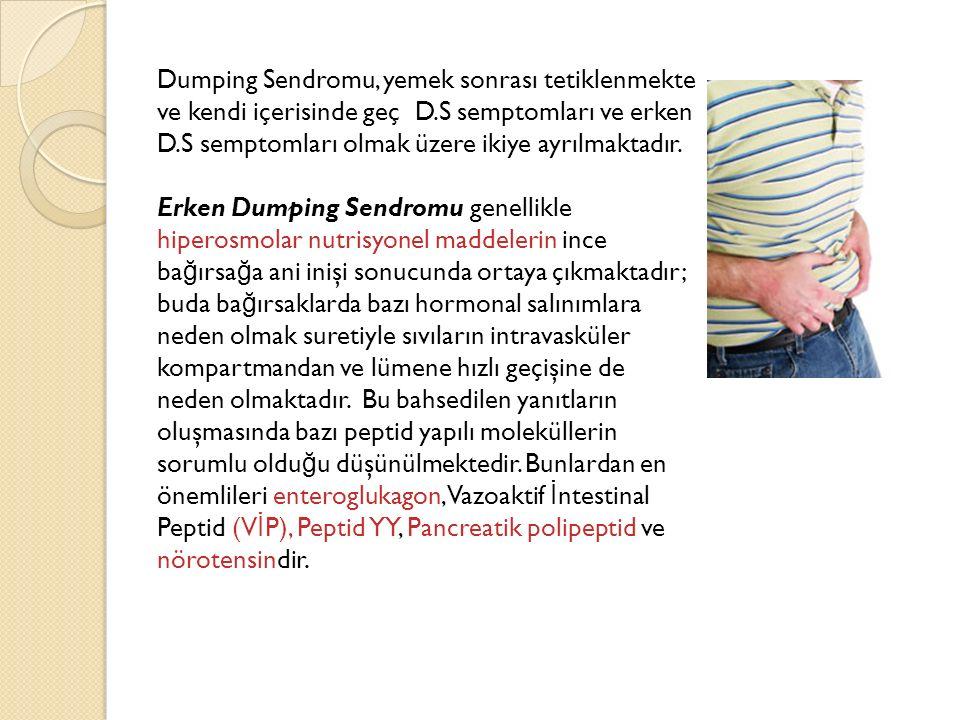 Dumping Sendromu, yemek sonrası tetiklenmekte ve kendi içerisinde geç D.S semptomları ve erken D.S semptomları olmak üzere ikiye ayrılmaktadır. Erken