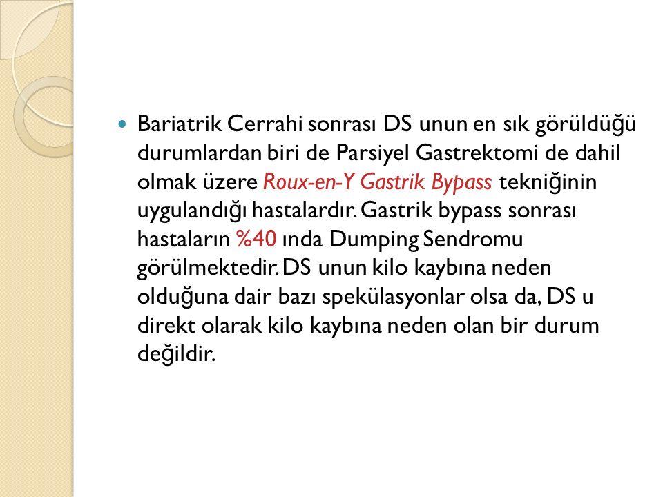 Bariatrik Cerrahi sonrası DS unun en sık görüldü ğ ü durumlardan biri de Parsiyel Gastrektomi de dahil olmak üzere Roux-en-Y Gastrik Bypass tekni ğ in