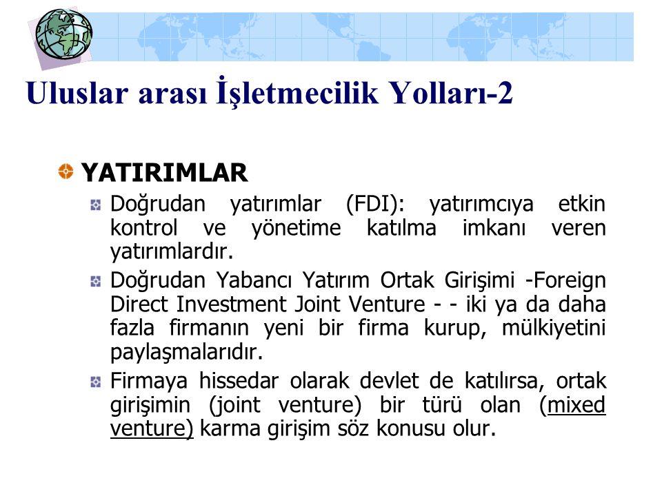 Uluslar arası İşletmecilik Yolları-2 YATIRIMLAR Doğrudan yatırımlar (FDI): yatırımcıya etkin kontrol ve yönetime katılma imkanı veren yatırımlardır. D