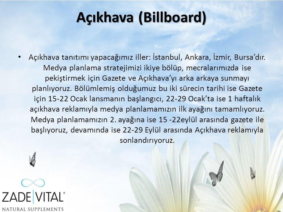 Açıkhava (Billboard) Açıkhava tanıtımı yapacağımız iller: İstanbul, Ankara, İzmir, Bursa'dır.