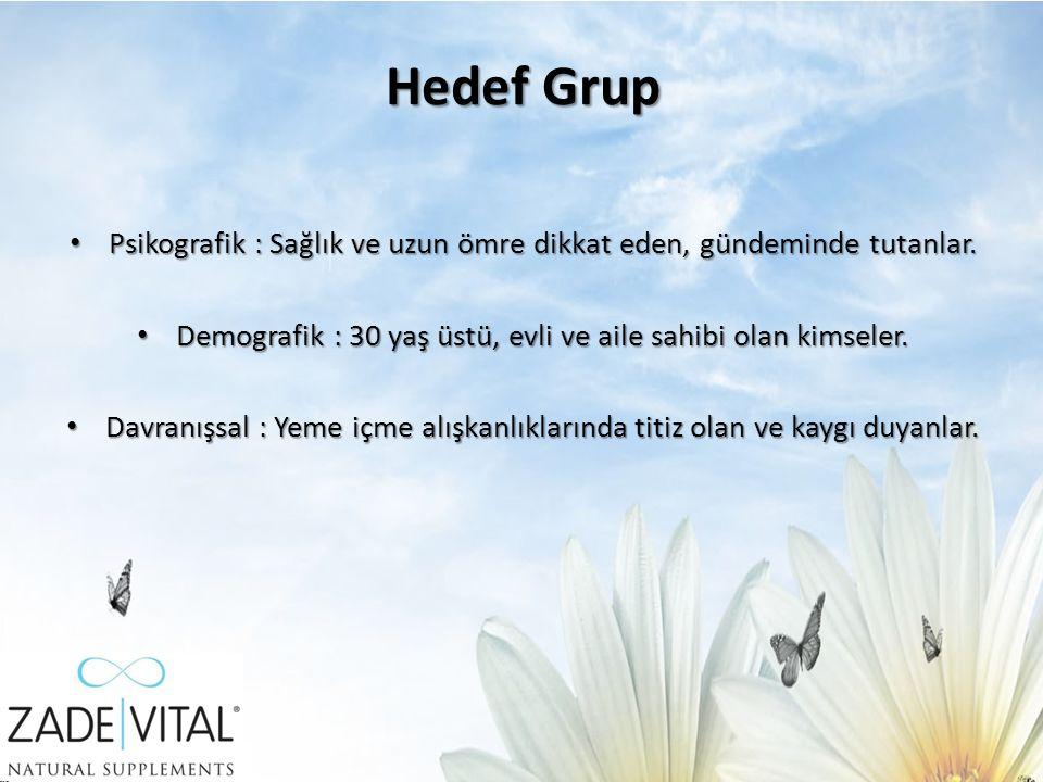 Hedef Grup Psikografik : Sağlık ve uzun ömre dikkat eden, gündeminde tutanlar.
