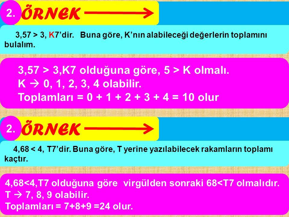 3,57 > 3,K7 olduğuna göre, 5 > K olmalı. K  0, 1, 2, 3, 4 olabilir. Toplamları = 0 + 1 + 2 + 3 + 4 = 10 olur ÖRNEK 2. 3,57 > 3, K7'dir. Buna göre, K'