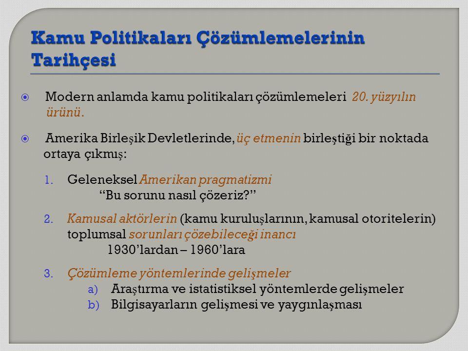  Modern anlamda kamu politikaları çözümlemeleri 20.