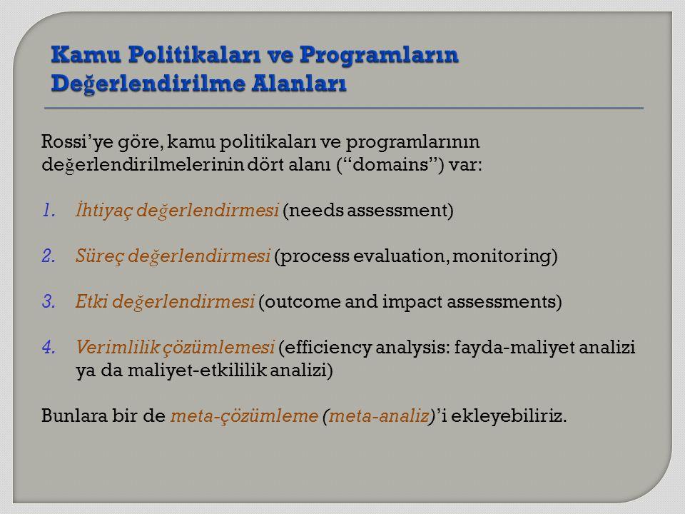 """Rossi'ye göre, kamu politikaları ve programlarının de ğ erlendirilmelerinin dört alanı (""""domains"""") var: 1. İ htiyaç de ğ erlendirmesi (needs assessmen"""