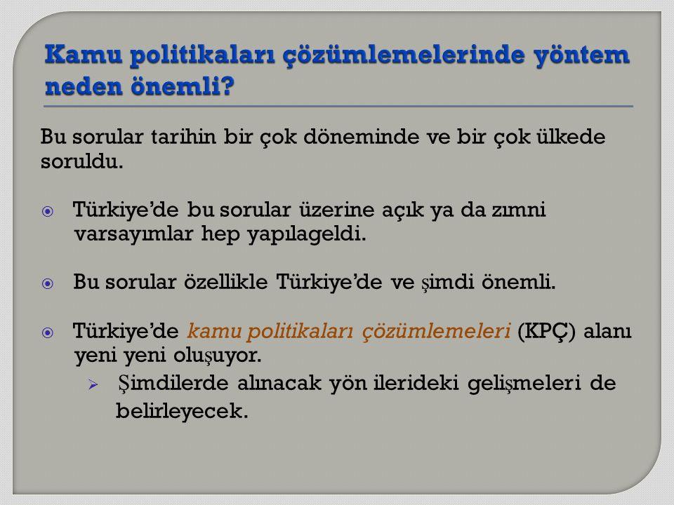 Bu sorular tarihin bir çok döneminde ve bir çok ülkede soruldu.  Türkiye'de bu sorular üzerine açık ya da zımni varsayımlar hep yapılageldi.  Bu sor