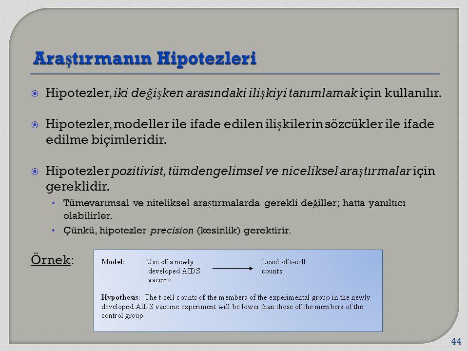  Hipotezler, iki de ğ i ş ken arasındaki ili ş kiyi tanımlamak için kullanılır.  Hipotezler, modeller ile ifade edilen ili ş kilerin sözcükler ile i