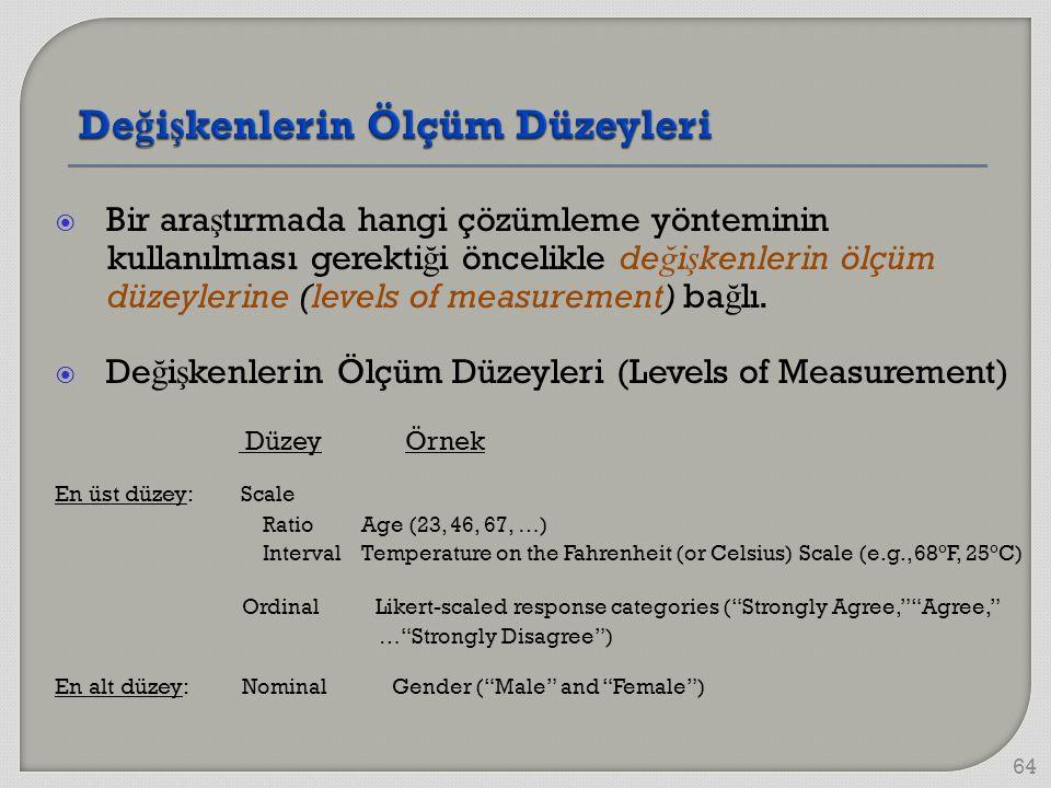  Bir ara ş tırmada hangi çözümleme yönteminin kullanılması gerekti ğ i öncelikle de ğ i ş kenlerin ölçüm düzeylerine (levels of measurement) ba ğ lı.