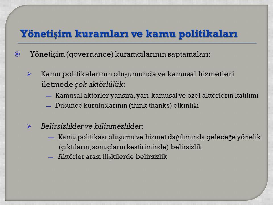  Yöneti ş im (governance) kuramcılarının saptamaları:  Kamu politikalarının olu ş umunda ve kamusal hizmetleri iletmede çok aktörlülük: — Kamusal ak