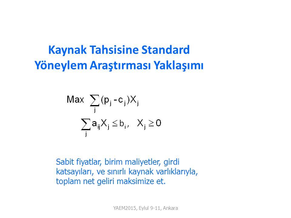 Kaynak Tahsisine Standard Yöneylem Araştırması Yaklaşımı YAEM2015, Eylul 9-11, Ankara Sabit fiyatlar, birim maliyetler, girdi katsayıları, ve sınırlı