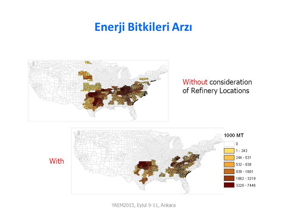 Enerji Bitkileri Arzı YAEM2015, Eylul 9-11, Ankara Without consideration of Refinery Locations With