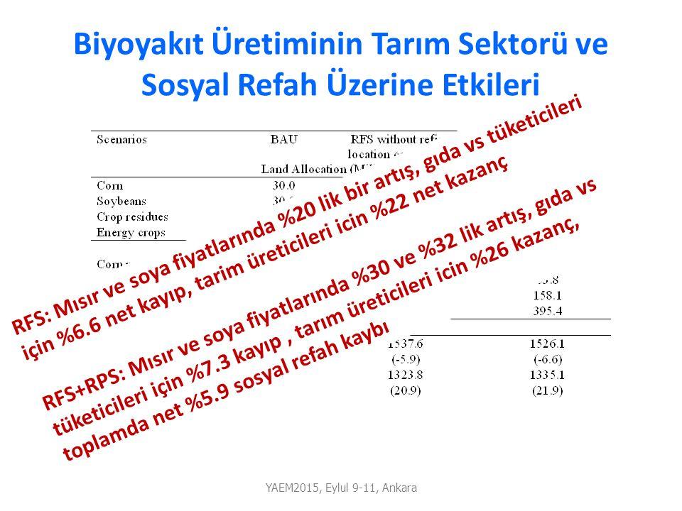 Biyoyakıt Üretiminin Tarım Sektorü ve Sosyal Refah Üzerine Etkileri YAEM2015, Eylul 9-11, Ankara RFS: Mısır ve soya fiyatlarında %20 lik bir artış, gı