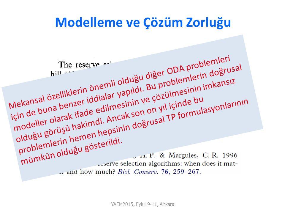 Modelleme ve Çözüm Zorluğu Mekansal özelliklerin önemli olduğu diğer ODA problemleri için de buna benzer iddialar yapıldı. Bu problemlerin doğrusal mo