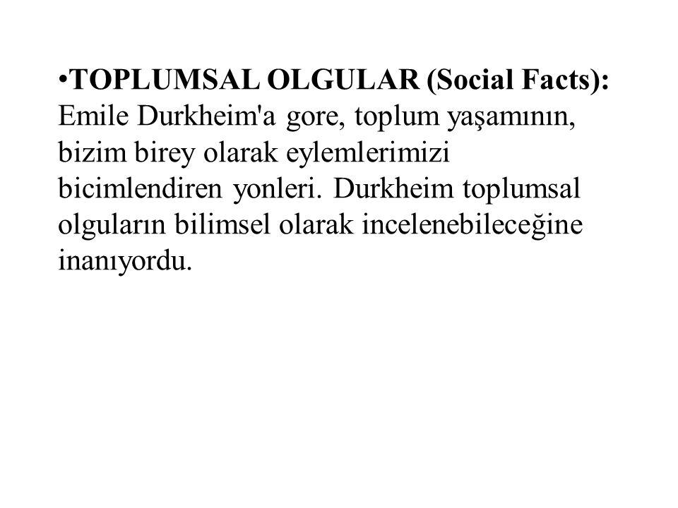 TOPLUMSAL OLGULAR (Social Facts): Emile Durkheim'a gore, toplum yaşamının, bizim birey olarak eylemlerimizi bicimlendiren yonleri. Durkheim toplumsal