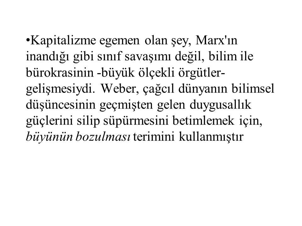 Kapitalizme egemen olan şey, Marx'ın inandığı gibi sınıf savaşımı değil, bilim ile bürokrasinin -büyük ölçekli örgütler- gelişmesiydi. Weber, çağcıl d