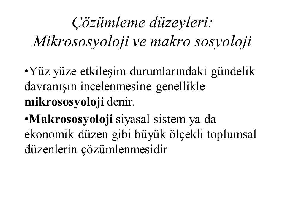 Çözümleme düzeyleri: Mikrososyoloji ve makro sosyoloji Yüz yüze etkileşim durumlarındaki gündelik davranışın incelenmesine genellikle mikrososyoloji d