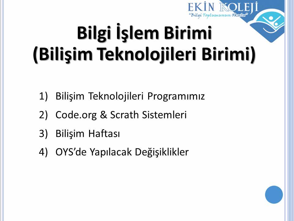 Bilgi İşlem Birimi (Bilişim Teknolojileri Birimi) 1)Bilişim Teknolojileri Programımız 2)Code.org & Scrath Sistemleri 3)Bilişim Haftası 4)OYS'de Yapıla