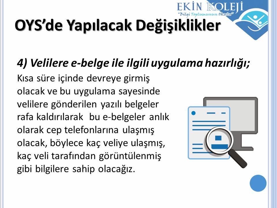 OYS'de Yapılacak Değişiklikler 4) Velilere e-belge ile ilgili uygulama hazırlığı; Kısa süre içinde devreye girmiş olacak ve bu uygulama sayesinde veli