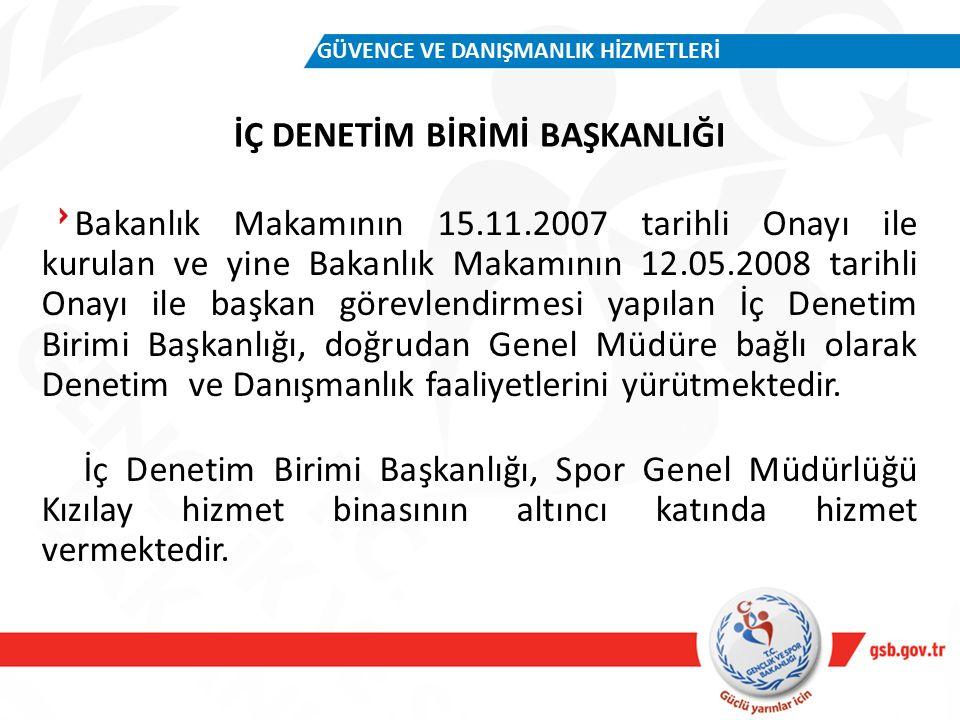 İÇ DENETİM BİRİMİ BAŞKANLIĞI GÜVENCE VE DANIŞMANLIK HİZMETLERİ Bakanlık Makamının 15.11.2007 tarihli Onayı ile kurulan ve yine Bakanlık Makamının 12.05.2008 tarihli Onayı ile başkan görevlendirmesi yapılan İç Denetim Birimi Başkanlığı, doğrudan Genel Müdüre bağlı olarak Denetim ve Danışmanlık faaliyetlerini yürütmektedir.
