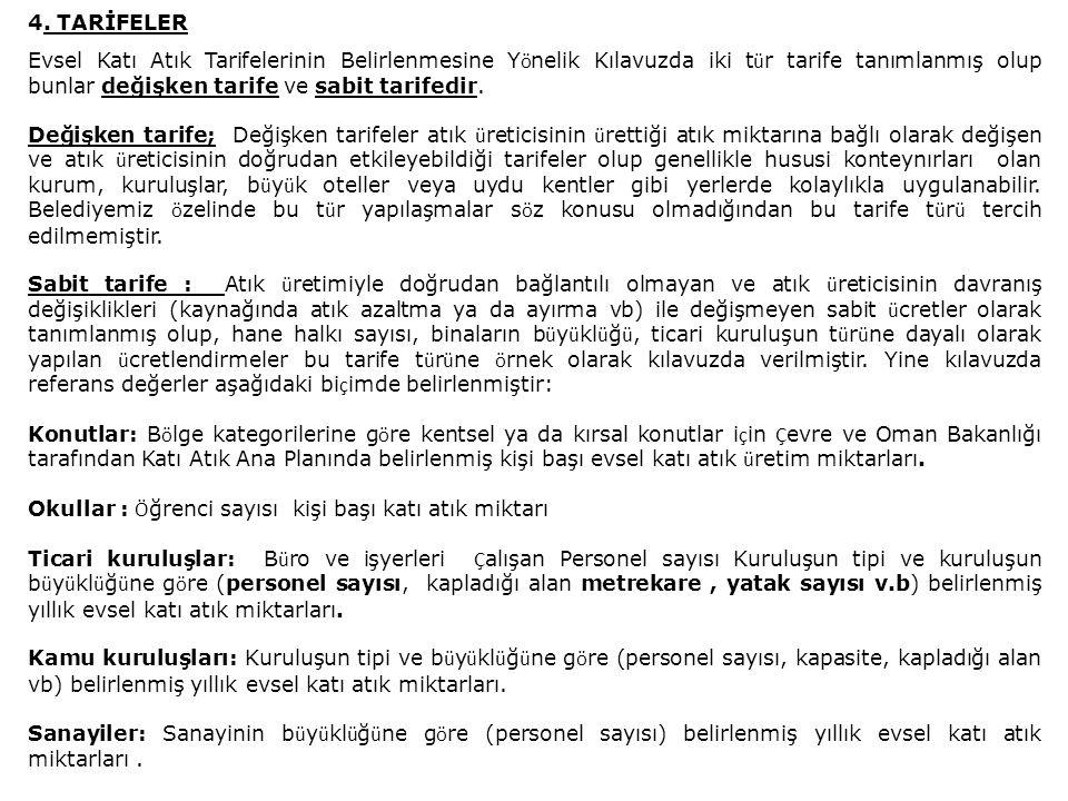 Tarafımızdan izlenen y ö ntem; Sabit tarife uygulanması y ö ntemi olup tarife grup ve derecelerinin belirlenmesinde Zonguldak Belediyesi verilerinden, Kılavuzdan yararlanılmıştır.