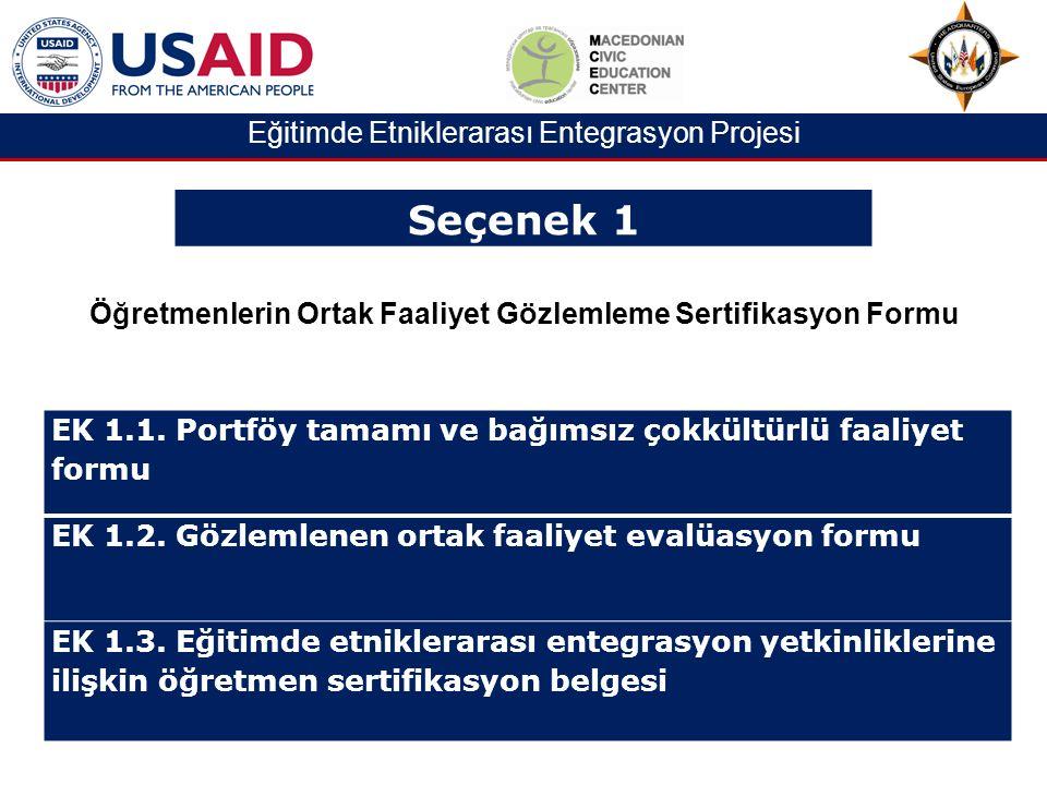Eğitimde Etniklerarası Entegrasyon Projesi EK 1.1.