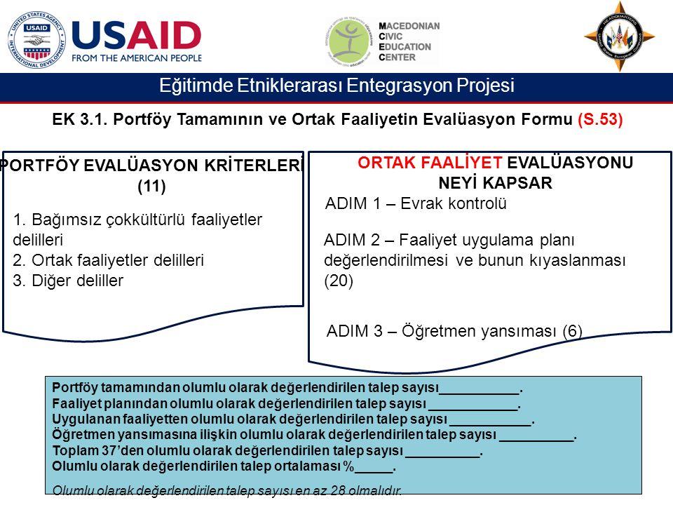 Eğitimde Etniklerarası Entegrasyon Projesi EK 3.1.