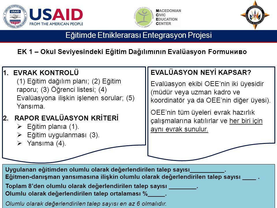 Eğitimde Etniklerarası Entegrasyon Projesi EK 1 – Okul Seviyesindeki Eğitim Dağılımının Evalüasyon Formuниво 1.EVRAK KONTROLÜ (1) Eğitim dağılım planı; (2) Eğitim raporu; (3) Öğrenci listesi; (4) Evalüasyona ilişkin işlenen sorular; (5) Yansıma.