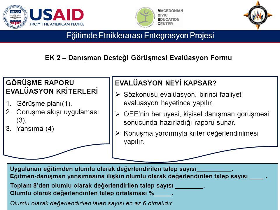 Eğitimde Etniklerarası Entegrasyon Projesi GÖRÜŞME RAPORU EVALÜASYON KRİTERLERİ 1.Görüşme planı(1).