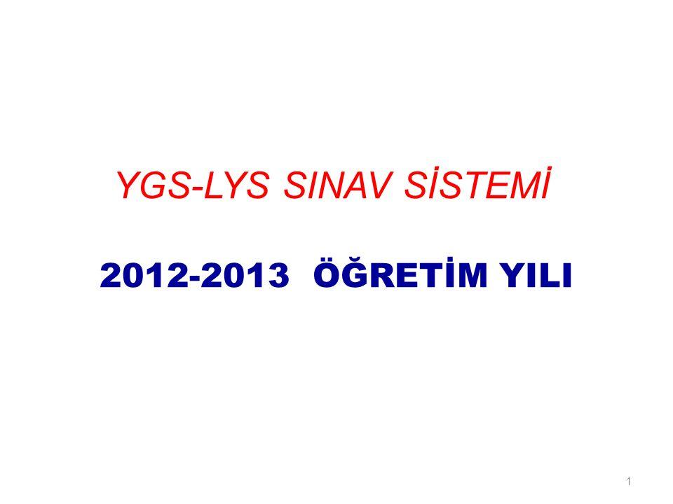 1 YGS-LYS SINAV SİSTEMİ 2012-2013 ÖĞRETİM YILI