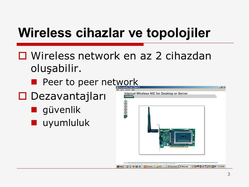 Wireless Güvenlik Düşük güvenlik sağlanır Virtual Private Networking (VPN) and Extensible Authentication Protocol (EAP)  EAP-MD5 Challenge  LEAP – Lightweight Extendible Authentication Protocol(Cisco)  User authentication (kullanıcı kimlik denetimi)  Encryption  Data authentication (veri kimlik denetimi) 14